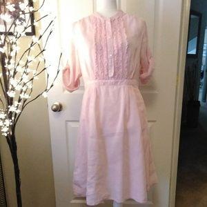 J.  CREW pink striped seersucker shirt dress
